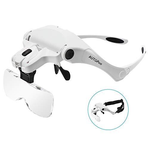 AUTOPkio Lenti d'ingrandimento, regolabile mani libere Magnifier con 2 Luce LED Occhiali per la...
