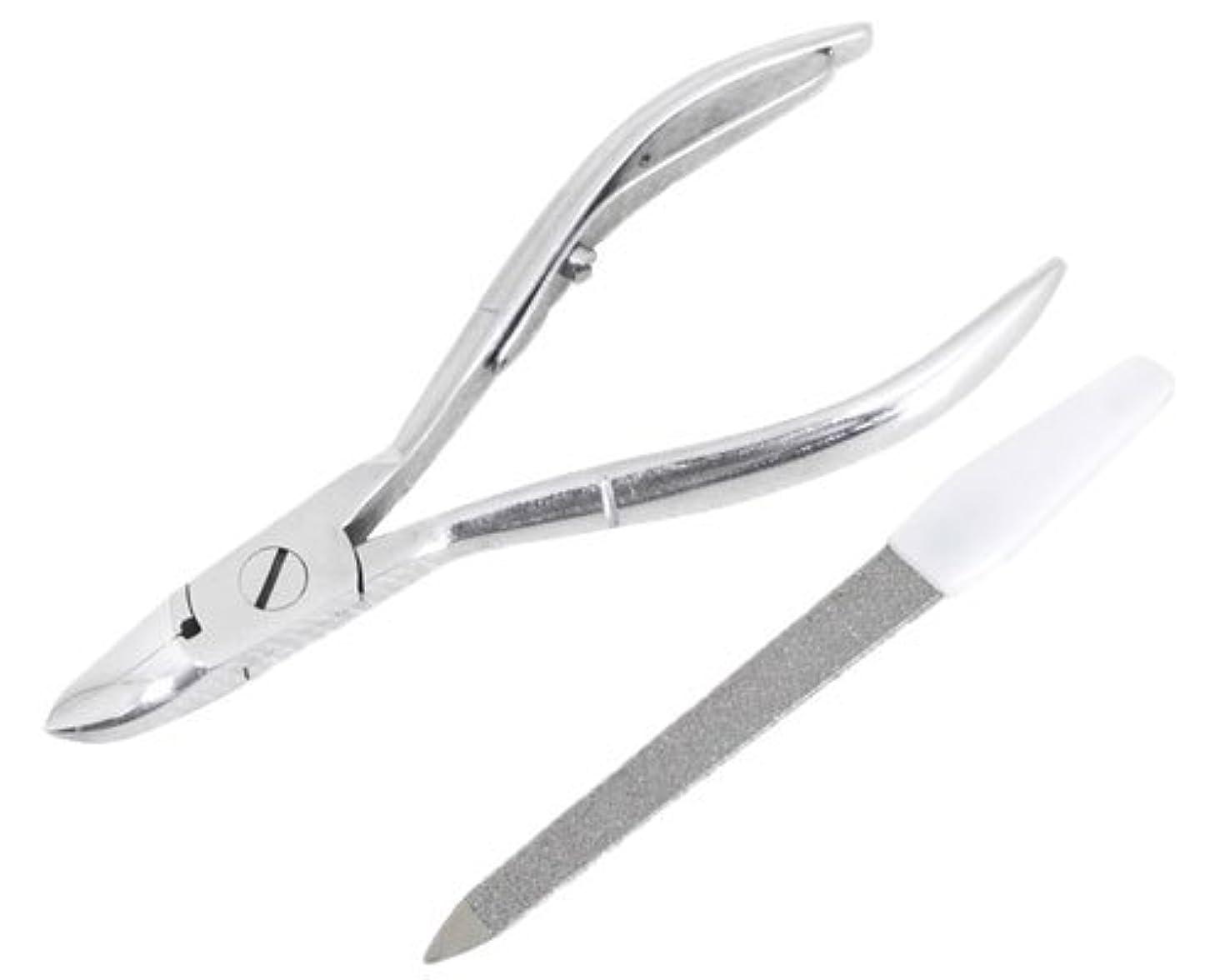 予算パニック独占ニッパー型爪切り 爪仕上げヤスリ付 F-21 (スミカマ)