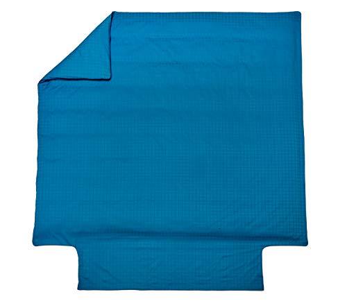 Blanc des Vosges Housse de Couette Palace Bleu Paon 240 x 220 cm - Satin jacquard 100% coton