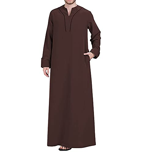 YHQKJ Vestido Casual árabe de los Hombres, Vestido Tradicional en V Cuello en v Manga Larga Vestido Ultra Largo para Casual (Color : E, Size : 3XL)