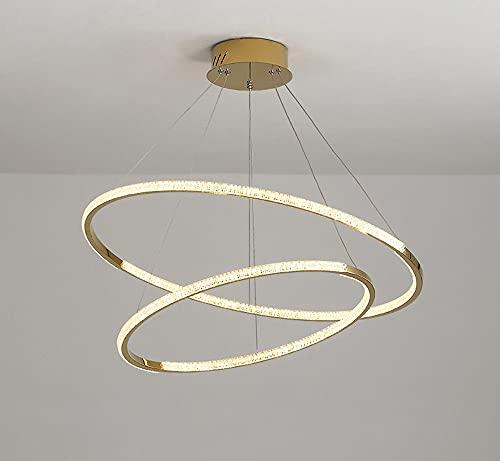 Lámpara de techo de acero inoxidable para salón comedor lámpara LED regulable mando a distancia redonda para cocina dormitorio oficina hotel lámpara de techo (40/60 cm, 65 W)