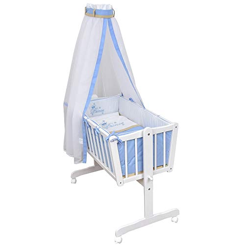 Baby Delux Babywiege Komplettwiegenset Stubenwagen mit Wiegenset Prince inkl. kompletter Ausstattung und Bettwäsche