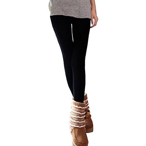Pack da 3, 5 o 10 leggings NERI donna effetto termico interno felpato elasticizzato collant winter fuseaux. MEDIA WAVE store ® (Pack 5 Paia, L/XL)