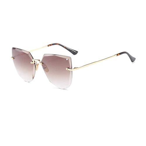 JOLLY Rahmenlose Sonnenbrillen Polarisierte Flip Up Fit Sonnenbrillen Brillen Brillen für Frauen (Farbe : Kaffee - Farbe)