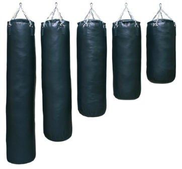 S.B.J - Sportland Profi Boxsack mit Aufhängekette Kunstleder Deluxe schwarz ungefüllt, 120 cm