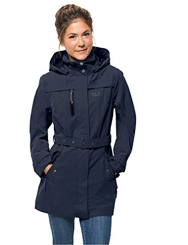Jack Wolfskin Damen Kimberley Coat Atmungsaktiv Wasserdicht Winddicht Outdoor Funktionsmantel Trenchcoat Mantel, Midnight Blue, M