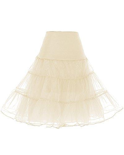DRESSTELLS 1950 Petticoat Reifrock Unterrock Petticoat Underskirt Crinoline für Rockabilly Kleid Champagne S