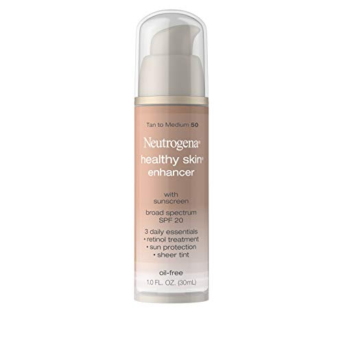 Neutrogena Healthy Skin Enhancer Sheer Face Tint with Retinol & Broad Spectrum SPF 20 Sunscreen for Younger Looking Skin, 3-in-1 Daily Enhancer, Non-Comedogenic, Tan to Medium 50, 1 fl. oz