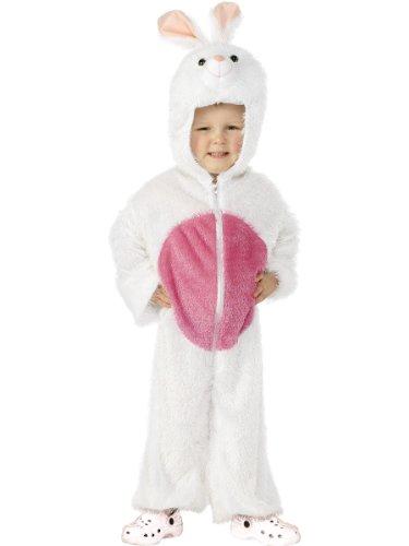 Smiffys Kinder Unisex Häschen Kostüm, Jumpsuit mit Kapuze, Größe: S, 30016