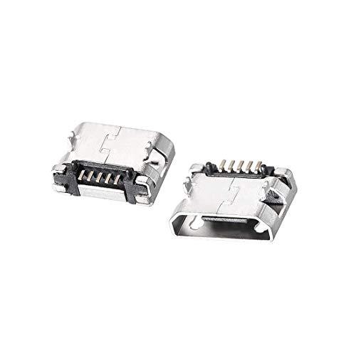 N/D 30 piezas Micro USB conector hembra conector Jack, 5 pines Dip 180 grados, adaptador de repuesto de reparación