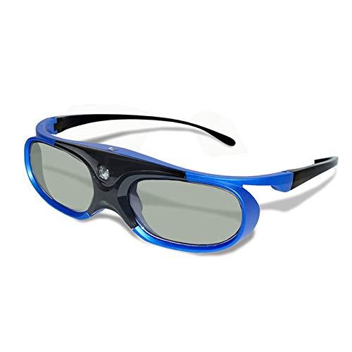 Desqueena Gafas 3D de obturación Activa Recargable Gafas 3D Soporte 96Hz / 120 HZ / 144HZ for XGIMI Z4X Z5 H1 JmGo G1 G3 X1 BenQ Acer y Proyector DLP Link, StarLightd (Color : Blue)