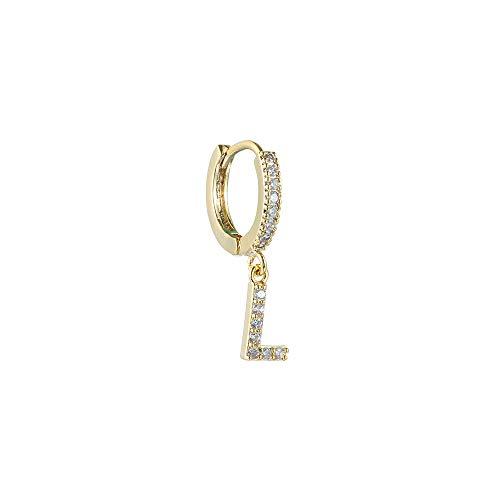 liaini Ohrringe Silber Gold Der Valentinstag Schmuck Geschenke DIY Name Zirconia cubic Round Hoop Senken der Schalldämpfer Erste 26 Alphabetische Buchstaben(L,gold)