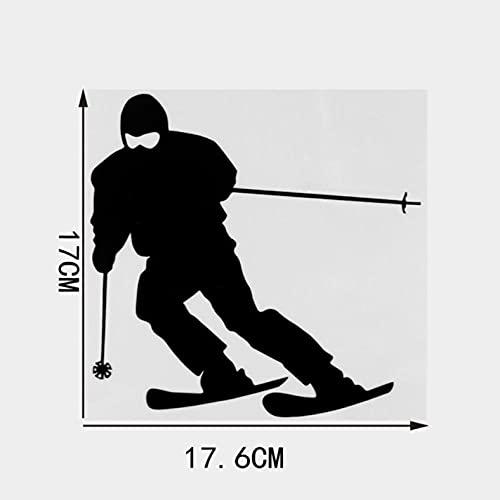PAOPD 3 Piezas de Pegatinas de Coche de 17,6 × 17 CM, Pegatina Divertida de Esquiador de Dibujos Animados para Coche, Ordenador portátil, Puertas o Paredes, Ideal para Furgonetas Camper