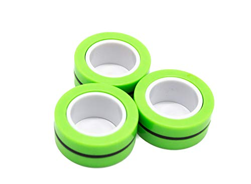 CT 3 Stück Magnetringe, Anti-Stress Magnetring, Fingerringe, Stressabbau, Magnetic Rings, FinGears, Finger Rings (Green)