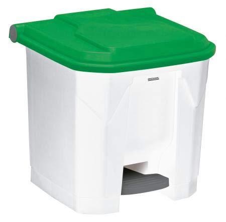 Poubelle à pédale Utilo - 30l - blanc/vert
