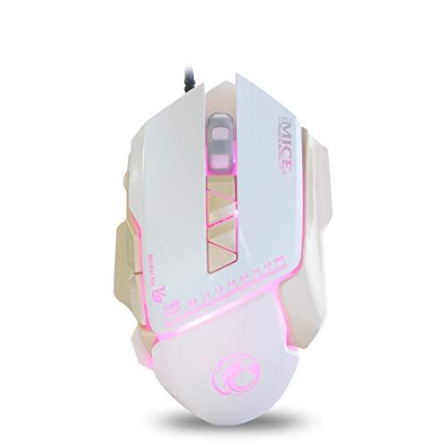 Anbel Juego del ratón USB con Cable Colorido Juego del ratón Cable del ratón (Color : White)