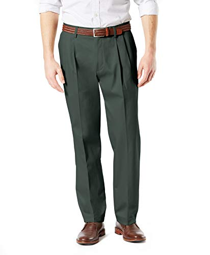 Dockers Men's Classic Fit Signature Khaki Lux Cotton Stretch Pants-Pleated, Olive Grove, 34W x 30L