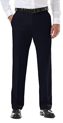 Haggar Men's Cool 18 PRO Classic Fit Flat Front Expandable Waist Pant, Navy, 44Wx30L