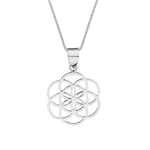 81stgeneration Collar Colgante Semilla de la Vida Geometría Mujer Plata de Ley Esterlina .925, 46 cm