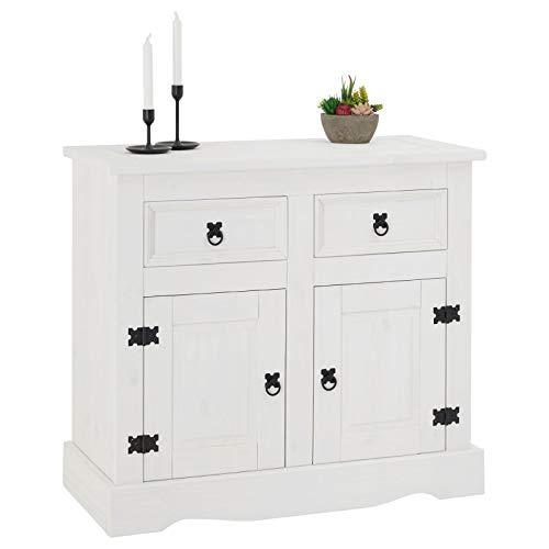 CARO-Möbel Kommode Rural weiß lasiert im Mexiko Stil Sideboard Kiefer massiv mit 2 Schubladen und 2 Türen