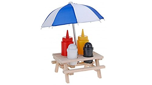 Grillset Holz-Picknicktisch mit Sonnenschirm, Kunststoff-Salz- & Pfefferstreuer & Senf- & Ketchup-Flasche