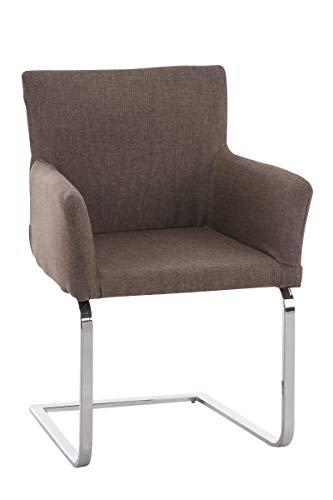 CLP Freischwinger PIRUS mit hochwertiger Sitzpolsterung und Stoffbezug I Konferenzstuhl mit Armlehnen und Metallgestell in Chrom-Optik,...