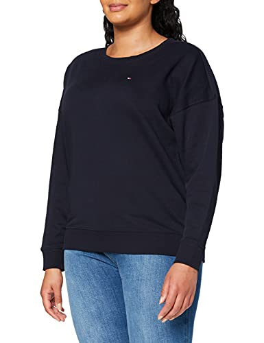 Tommy Hilfiger Damen Oversized Open-NK LS Sweatshirt, Blau, 48