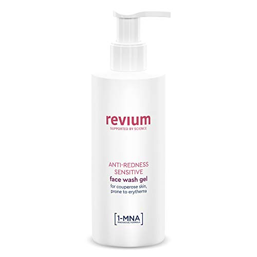 REVIUM ROSACEA - ANTI-REDNESS CLEANSER - SENSITIVE FACE WASH GEL WITH 1-MNA MOLECULE, CHLORELLA VULGARIS GREEN ALGAE EXTRACT, ACEROLA FRIUT, SOAP-FREE PRODUCT, FOR COUPREOSE SKIN PRONE TO ERYTHEMA
