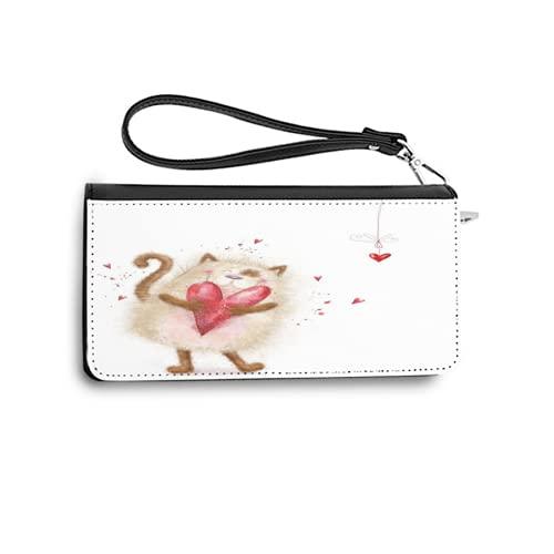 Carteras para Mujer,Amor Lindo Gato con corazón Rojo Gato Enamorado Postal del día de San Valentín,Tarjetero de Cuero Genuino con Capacidad de Bloqueo RFID Monedero