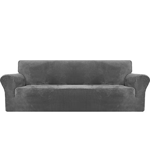 MAXIJIN Thick Velvet Extra Large Sofa Covers 4 Seater Super Stretch Non Slip Oversized Couch Cover for Dogs Cat Pet 1-Piece XL Sofa Slipcover Elastic Furniture Protector (4 Seater, Grey)