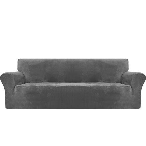 MAXIJIN Dicker Samt Extra große Sofabezüge 4-Sitzer Super Stretch Rutschfester übergroßer Sofabezug für Hunde Cat Pet 1-teiliger XL-Sofabezug elastischer Möbelschutz (4 Sitzer, Grau)