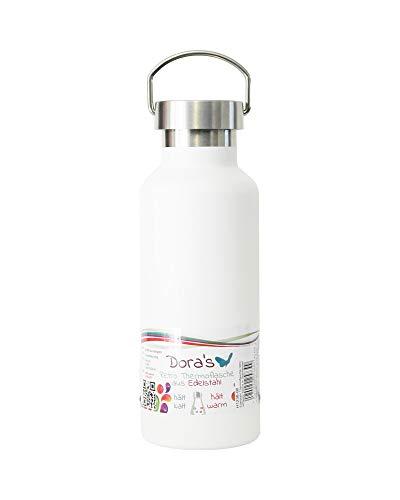 Dora's Retro Trinkflasche Edelstahl Thermoflasche Farbe weiß 500 ml