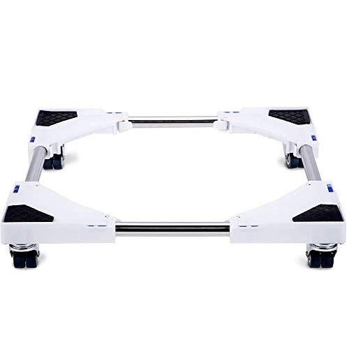 SMONTER Waschmaschine verschiebbar Sockel, Podeste & Rahmen für Kühlschrank, Multifunktionaler beweglicher verstellbare Stand für Trockner, 4Räder, Weiß