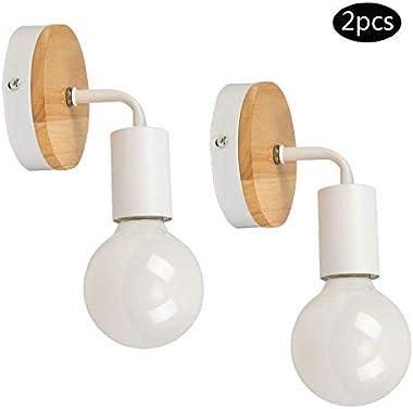 YUENSLIGHTING 2 paquets Lampe murale en fer forgé moderne en bois moderne E27 40W (sans ampoule)