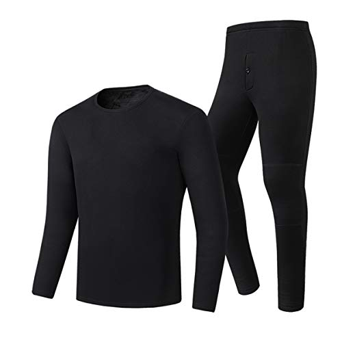 LvBo Thermal Underwear Winter Heated Baselayer Clothing Indoor Outdoor Sports T Shirts with Pants,Black Sets (for Men),Size L