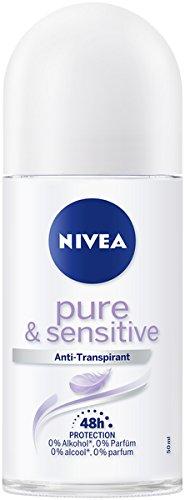 NIVEA Pure & Sensitive Deo Roller im 6er Pack (6 x 50 ml), Antitranspirant Roll On geeignet für empfindliche Haut, Deodorant mit 48h Schutz