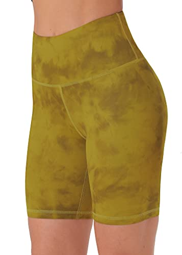 Persit Pantalones cortos de deporte para mujer, opacos, cintura alta, pantalones cortos de yoga con bolsillo oculto en los puños. Amarillo Titanio 46-48