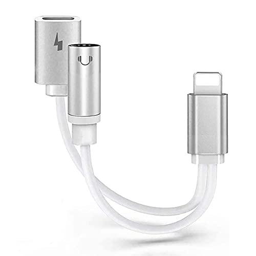 Adaptador de Auriculares para iPhone X Adaptador Conector de Auriculares 3.5 mm Jack Dongle Adaptador de Audio para iPhone 7/7 Plus/8/8Plus/XS/XR Audio Auxiliar Cargador Soporta Todos iOS-Blanco