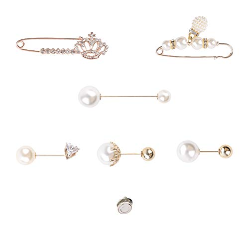 7 piezas Pin de broche de suéter, Clips para chal de mujer Alfileres de broche de perlas de imitación Broche De Oro Con Perla Broche Corona para mujeres niñas dama accesorio de disfraz