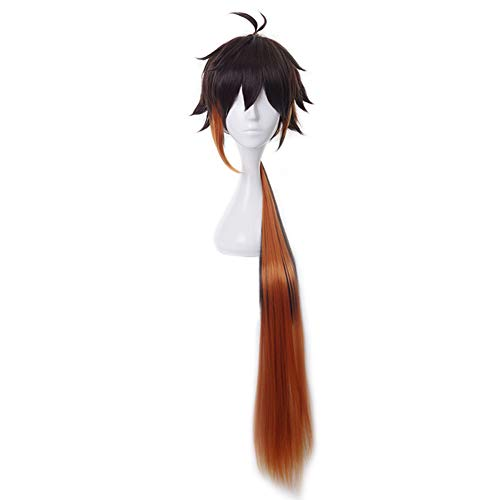 HIROAKIYA Zhongli Wig, Genshin Impact Zhongli Cosplay Wig with Wig Cap, Perücke Braun Orange Lang Pferdeschwanz Cosplay Anime