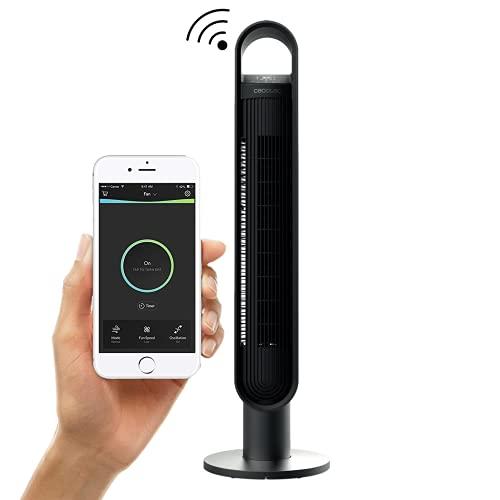 Ventilatore a torre Smart WIFI da 100 cm – Ventola di raffreddamento digitale da 60 W con Amazon Alexa – Potente camera da letto e soggiorno raffreddamento ad aria con telecomando, colore nero