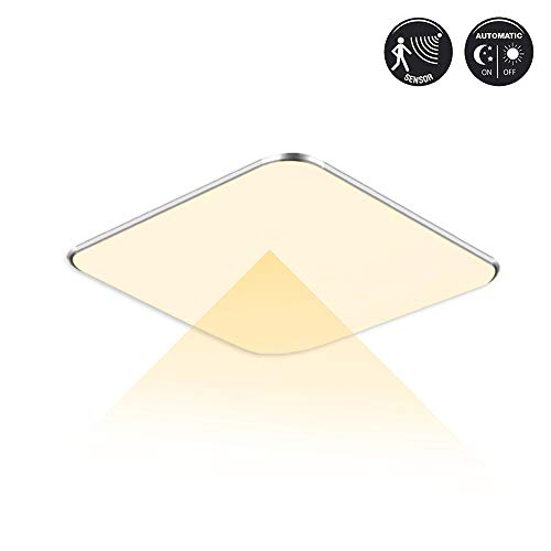 NAIZY 12W LED Sensor Deckenleuchte Modern Deckenlampe Energie Sparen Wandleuchte LED Radar Sensorleuchte mit Bewegungsmelder für Flure Lampe,Treppenhaus, Wand, Keller (12W Sensor Warmweiß)