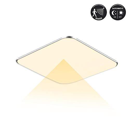 Fscm 24W LED Deckenleuchte Lampe mit Sensor Bewegungsmelder Modern Deckenlampe, Warmweiß 2800-3500K Deckenleuchten für Flur Wohnzimmer Schlafzimmer Küche PVC Abdeckung Alu Rahmen Platz 38x38x10cm IP44