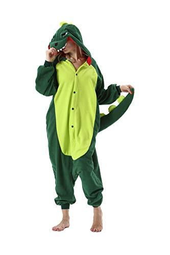 Erwachsene Jumpsuit Onesie Tier Karton Fasching Halloween Kostüm Sleepsuit Cosplay Overall Pyjama Schlafanzug, Grüner Dinosaurier, S