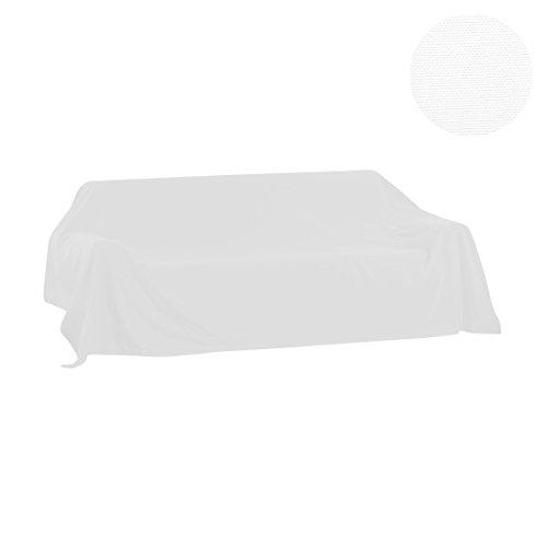 Nurtextil24 Sofaüberwurf Leinenoptik XXL Sesselüberwurf Strapazierfähig viele Farben & größen Weiß 300 x 175 cm