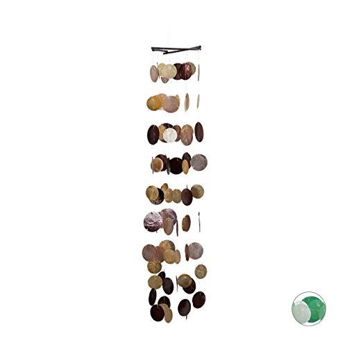 Relaxdays Capiz vindspel med snäckskal kransar, pärlor, maritim trä trädgård mobile, fönster, balkong, 117 cm, brun-rosa
