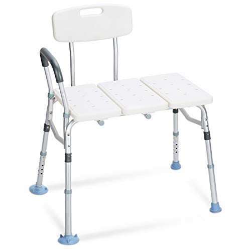 OasisSpace Tub Transfer Bench 400 lb - Heavy Duty Bath & Shower Transfer Bench - Adjustable Handicap Shower Chair with Reversible Backrest Medical Bathroom Aid for Disabled, Seniors, Bariatric(400lbs) Deluxe Bariatric Bath Bench