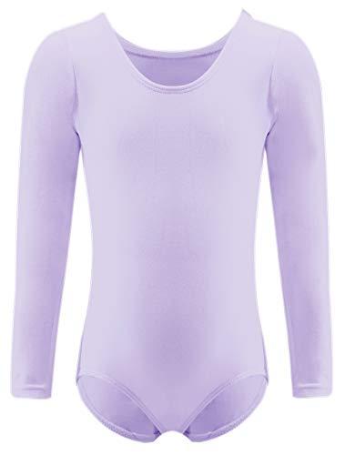 Dancina Leotard Classic Long Sleeve Modest Higher Neckline Full Front Lining Body Suit 8 Lavender
