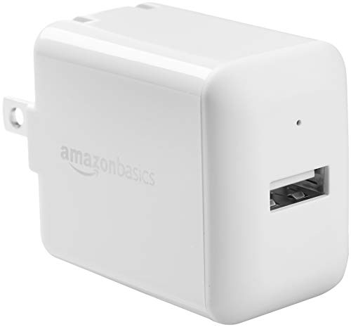 AmazonBasics One-Port USB Wall Charger for Phone, iPad, and Tablet, 12W - White