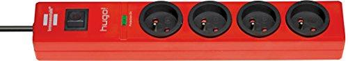 Brennenstuhl Steckdosenleiste mit Überspannungsschutz, 4Steckdosen, rot, 1150611674